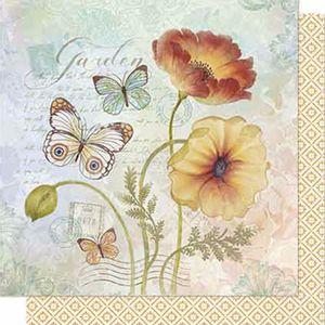 Papel-Scrapbook-Litoarte-SD-640-Dupla-Face-305X305cm-Borboletas-e-Flores