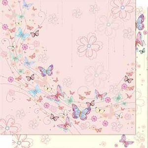 Papel-Scrapbook-Litoarte-SD-646-Dupla-Face-305X305cm-Borboletas-e-Flores-Rosa