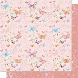 Papel-Scrapbook-Litoarte-SD-647-Dupla-Face-305X305cm-Borboletas-e-Flores-Rose