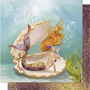 Papel-Scrapbook-Litoarte-SD-650-Dupla-Face-305X305cm-Sereia-Ruiva-Na-Concha