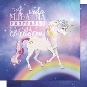 Papel-Scrapbook-Litoarte-SD-652-Dupla-Face-305X305cm-Unicornio-e-Frase-Roxo