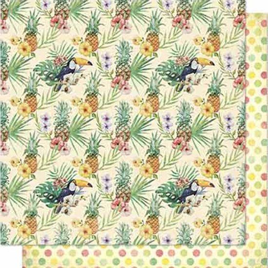 Papel-Scrapbook-Litoarte-SD-660-Dupla-Face-305X305cm-Abacaxi-e-Poa