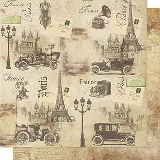Papel-Scrapbook-Litoarte-SD-661-Dupla-Face-305X305cm-Carro-Antigo-Franca