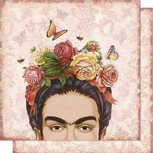 Papel-Scrapbook-Litoarte-SD-674-Dupla-Face-305X305cm-Frida-e-Rosas