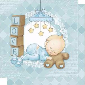 Papel-Scrapbook-Litoarte-SD-676-Dupla-Face-305X305cm-Love-Bebe-Menino