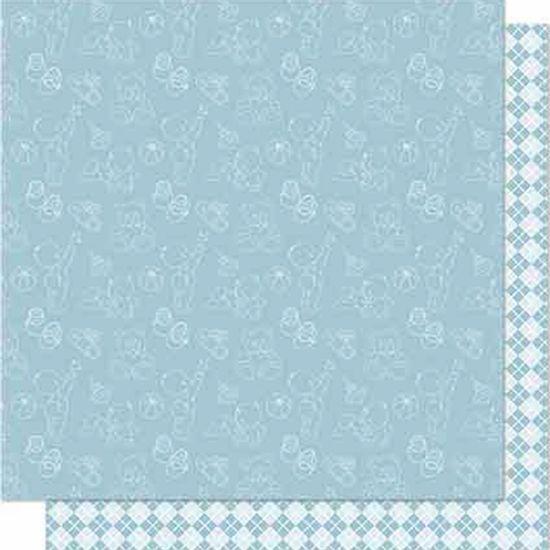 Papel-Scrapbook-Litoarte-SD-678-Dupla-Face-305X305cm-Losango-Azul
