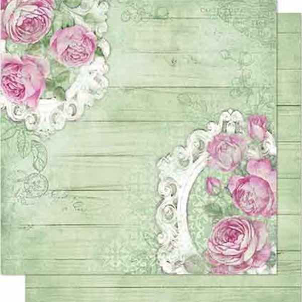 Papel-Scrapbook-Litoarte-SD-692-Dupla-Face-305X305cm-Rosas-e-Madeira-Verde