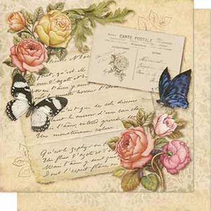 Papel-Scrapbook-Litoarte-SD-699-Dupla-Face-305X305cm-Rosas-e-Carta