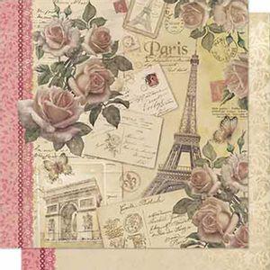 Papel-Scrapbook-Litoarte-SD-701-Dupla-Face-305X305cm-Rosas-Vintage