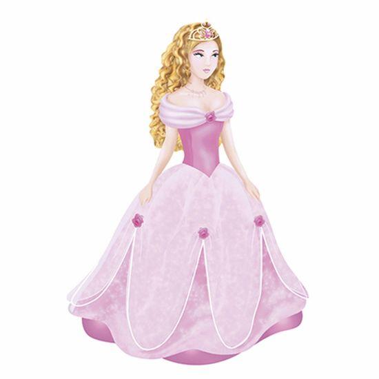 Aplique-Decoupage-Litoarte-APM8-853-em-Papel-e-MDF-8cm-Princesa-com-Vestido