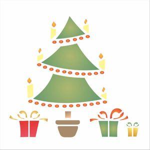 Stencil-OPA-1108-14x14cm-para-Pintura-Natal-Arvore-e-Presentes