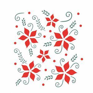 Stencil-OPA-874-15x20cm-para-Pintura-Natal-Flores-Natalinas