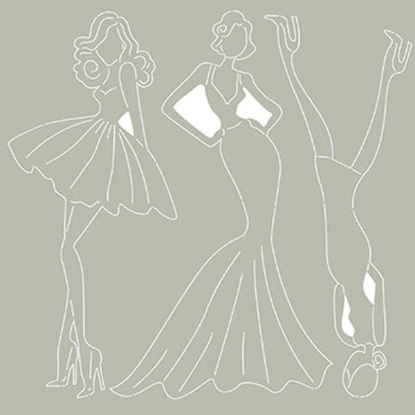 Scrap-Embelezadores-Cardboard-Litoarte-SCEP-026-Aplique-Dama-Fashion