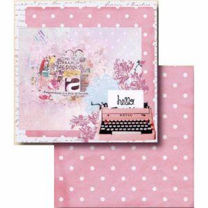 Papel-Scrapbook-Litocart-LSCD-406-Dupla-Face-305x305cm-Maquina-de-Escrever-e-Poa-Rosa