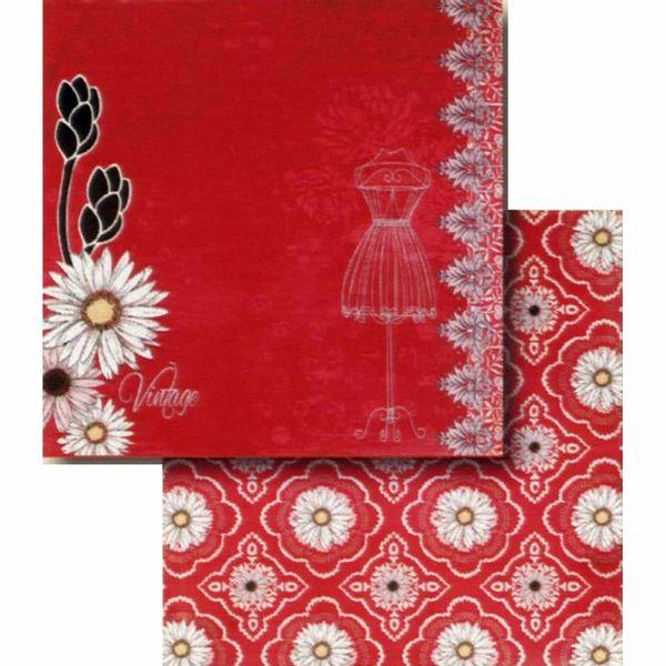 Papel-Scrapbook-Litocart-LSCD-409-Dupla-Face-305x305cm-Margaridas-Fundo-Vermelho