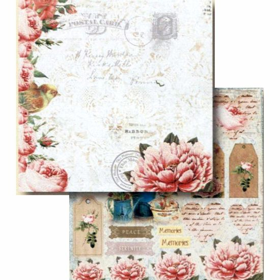 Papel-Scrapbook-Litocart-LSCD-413-Dupla-Face-305x305cm-Flores-e-Tags