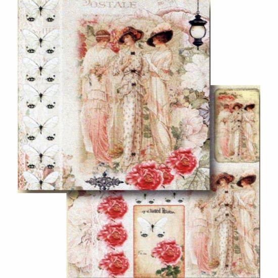 Papel-Scrapbook-Litocart-LSCD-412-Dupla-Face-305x305cm-Dama-Vintage