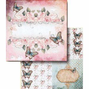 Papel-Scrapbook-Litocart-LSCD-398-Dupla-Face-305x305cm-Rosas-e-Borboletas