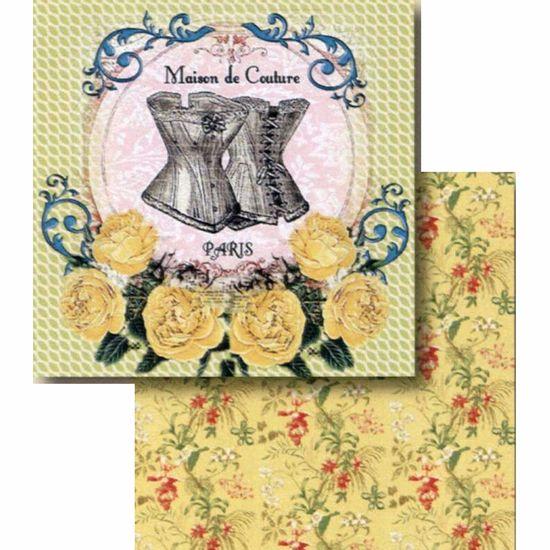 Papel-Scrapbook-Litocart-LSCD-399-Dupla-Face-305x305cm-Paris-e-Rosas-Amarelo