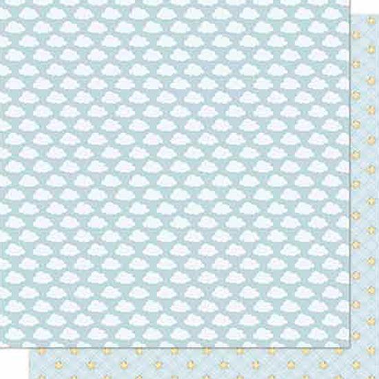 Papel-Scrapbook-Litoarte-SD-679-Dupla-Face-305X305cm-Nuvens-e-Estrelas