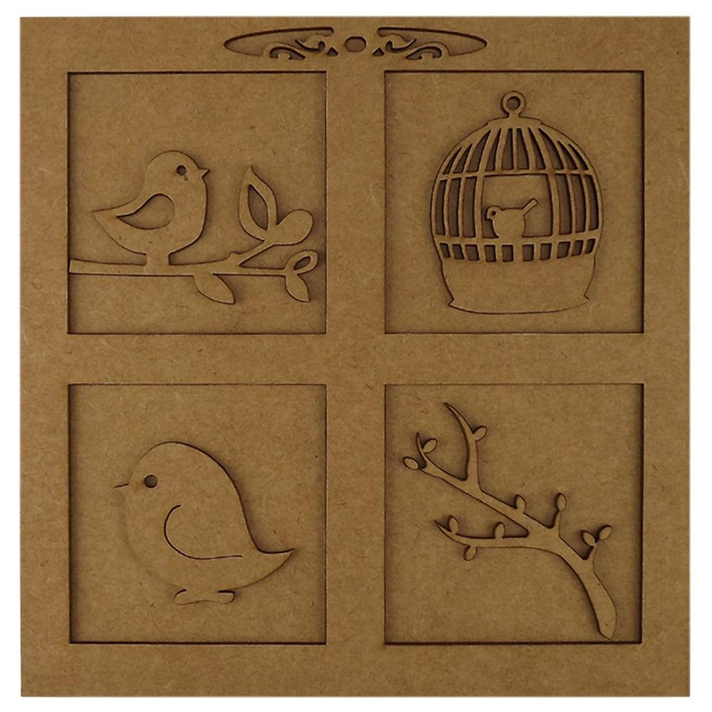efc78756f Quadro Pássaros e Molduras em MDF 3D 20X20cm - Palácio da Arte -  PalacioDaArte