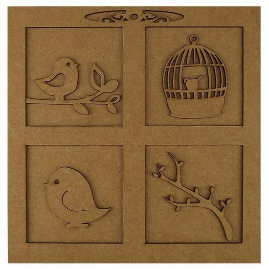 96c7f409d Quadro Pássaros e Molduras em MDF 3D 20X20cm - Palácio da Arte -  PalacioDaArte