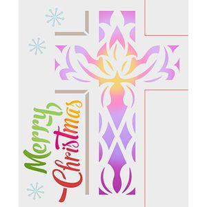 Stencil-Litoarte-STMN-020-211X172cm-Pintura-Simples-Natal-Cruz-em-Vitral-Merry-Christmas