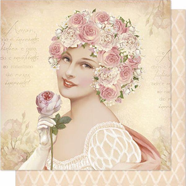 Papel-Scrapbook-Litoarte-SD-199N-Dupla-Face-305X305cm-Mulher-e-Rosas