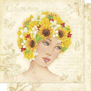Papel-Scrapbook-Litoarte-SD-200N-Dupla-Face-305X305cm-Mulher-e-Girassois