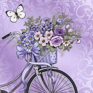 Papel-Decoupage-Adesiva-Litoarte-DAXV-020-15x15cm-Bicicleta-com-Flores