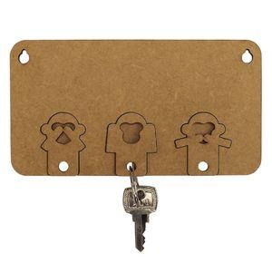 Porta-Chaves-Modular-Macacos-Sabios-com-3-Chaveiros-em-MDF-15x8cm---Palacio-da-Arte