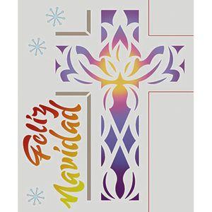 Stencil-Litoarte-Natal-STMN-021-172x21cm-Pintura-Simples-Cruz-em-Vitral-Feliz-Navidad-by-Mara-Fernandes