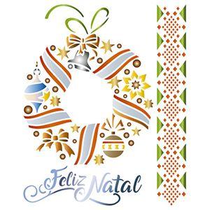 Stencil-Litoarte-Natal-STMN-043-172x21cm-Pintura-Simples-Guirlanda-Feliz-Natal-e-Barra