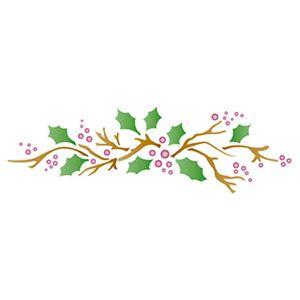 Stencil-Litoarte-Natal-STN-038-285x84cm-Pintura-Simples-Folhas-e-Frutas