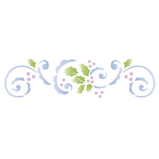 Stencil-Litoarte-Natal-STNG-005-17x42cm-Pintura-Simples-Arabesco-Flores