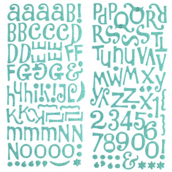 Adesivo-Thickers-Chipboard-American-Crafts-WER049-Alfabeto-Glitter-Verde-Agua-2-Unidades