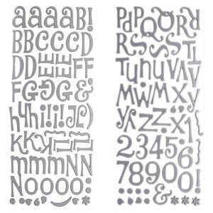 Adesivo-Thickers-Chipboard-American-Crafts-WER051-Alfabeto-Metalizado-Fosco-Prata-2-Unidades