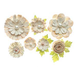 Flores-Artesanais-Sortidas-Toke-e-Crie-FLOR162-Coral-Colecao-Classica-com-Glitter-e-Perola