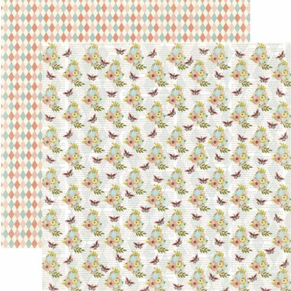 Papel-Scrapbook-Toke-e-Crie-SDF806-Dupla-Face-305x305cm-Floral-Flores-e-Borboleta