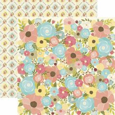 Papel-Scrapbook-Toke-e-Crie-SDF804-Dupla-Face-305x305cm-Floral-Flores-Estilizadas