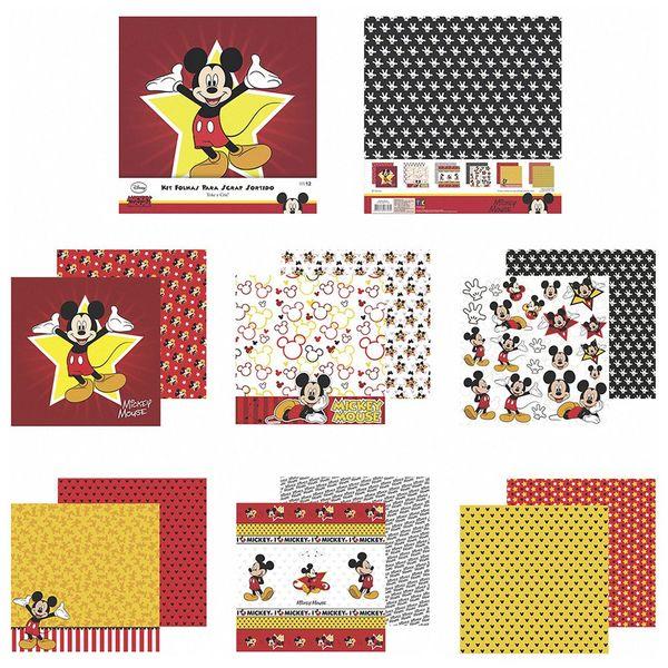 Kit-Papel-Scrapbook-Toke-e-Crie-SDFD130-Dupla-Face-305x305cm-com-12-Folhas-Sortidas-Disney-Mickey-Mouse