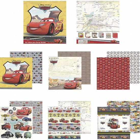 Kit-Papel-Scrapbook-Toke-e-Crie-SDFD138-Dupla-Face-305x305cm-com-12-Folhas-Sortidas-Disney-Carros