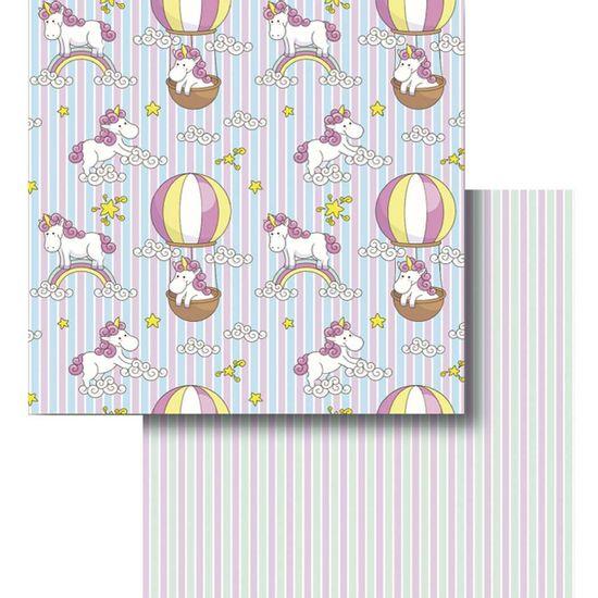 Papel-Scrapbook-Litocart-LSCD-426-Dupla-Face-305x305cm-Unicornio-e-Balao-com-Listras