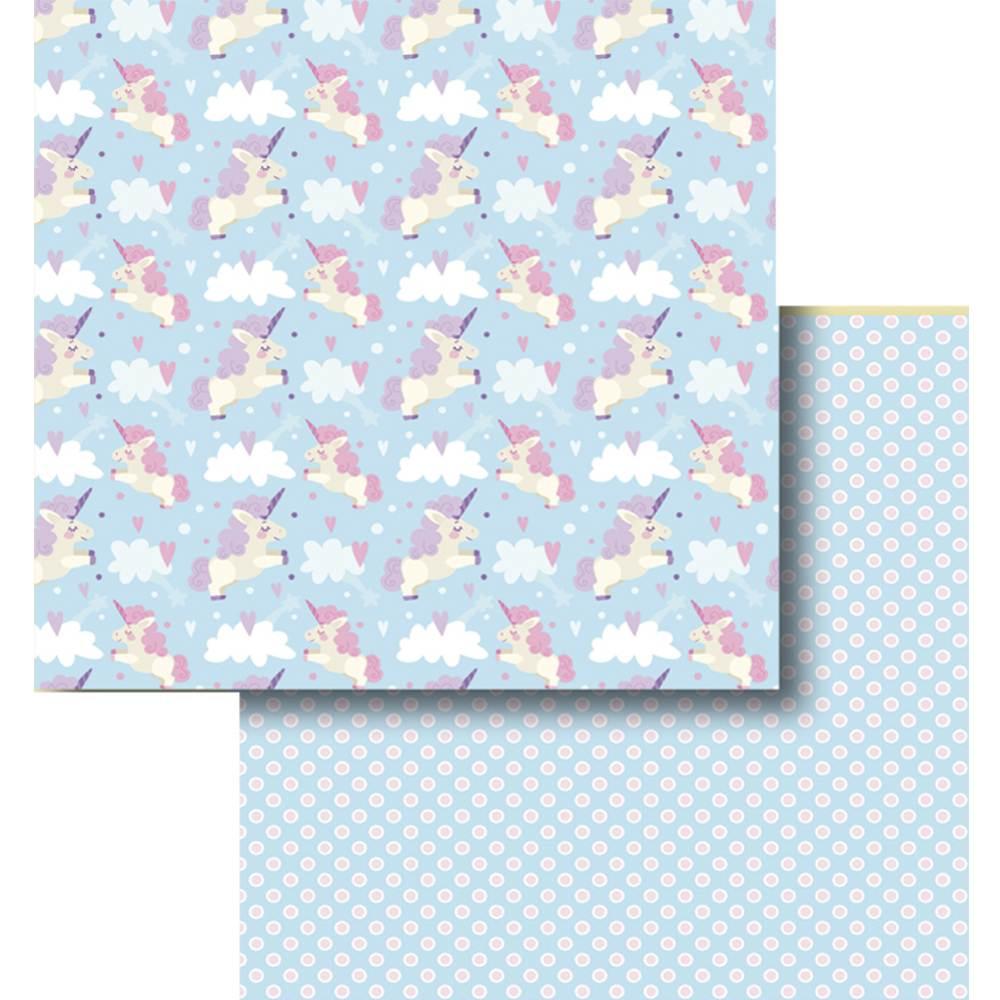 Papel Scrapbook Litocart 30 5x30 5 Lscd 429 Unicornio E Nuvens
