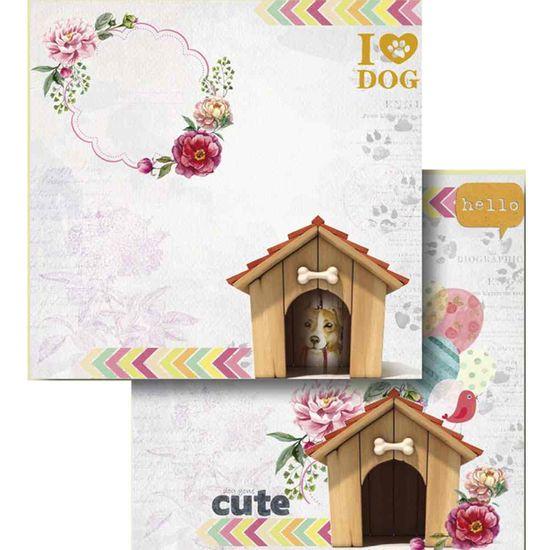 Papel-Scrapbook-Litocart-LSCD-416-Dupla-Face-305x305cm-Casinha-de-Cachorro