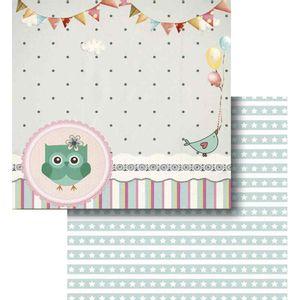 Papel-Scrapbook-Litocart-LSCD-418-Dupla-Face-305x305cm-Coruja-Bandeirinhas
