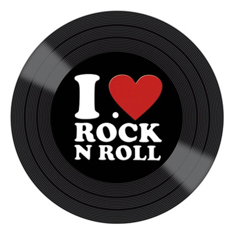 Aplique Decoupage Litocart LMAPC-412 em Papel e MDF 10cm Disco Vinil I Love Rock N Roll - PalacioDaArte