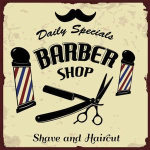 Placa-Decorativa-Litocart-LPQC-054-25x25cm-Barber-Shop