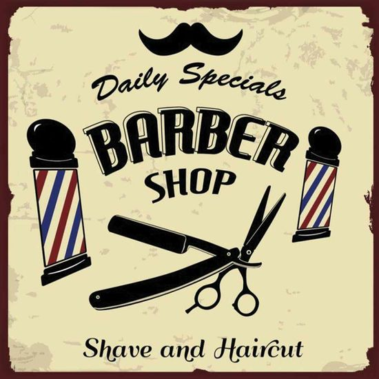 Placa-Decorativa-Litocart-LPQC-054-25x25cm-Barber-Shop