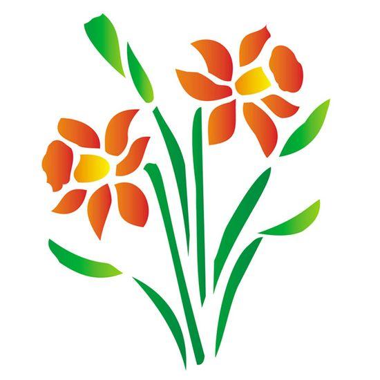 Stencil-Opa-15x20cm-para-Pintura-Simples-OPA185-Flor-Narciso